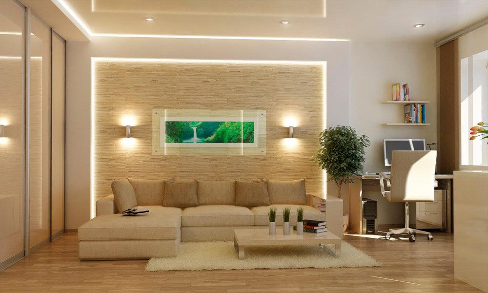 Интерьер комнаты с дизайном ниши